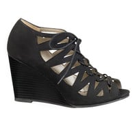 black Lucy lace up wedge