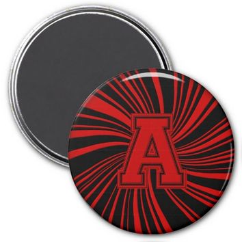 Collegiate Letter Magnet Red-Black-A