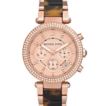 Michael Kors Parker Mid-Size Rose Golden Stainless Steel and Tortoise Acetate Parker Chronograph Glitz Watch