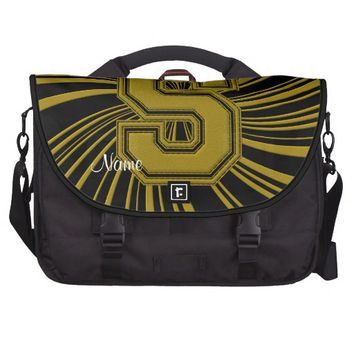 School Colors Monogram Commuter Bag, Black Gold S