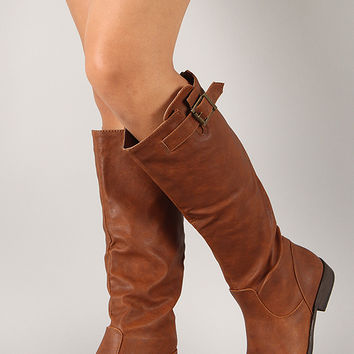 Montage-01U Buckle Riding Knee High Boot