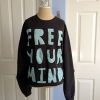 FREE YOUR MIND Dark Gray Oversized Statement by jaclynmurray