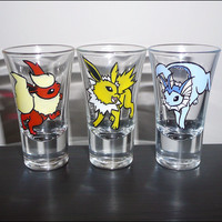 Pokemon - Eevee Original Evolutions - Hand Painted Shot Glass Set.