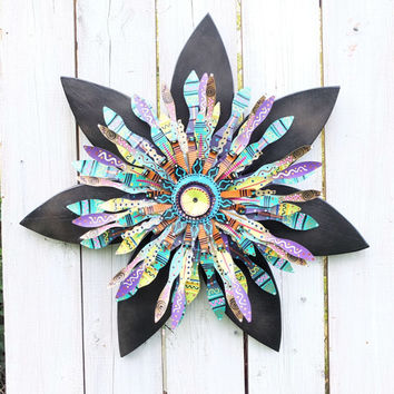 Boho Chic Wall Decor~Emerald Green Black Wreath~ Bohemian Decor~ Autumn Wreath~ Halloween Decor