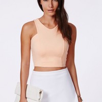 Missguided - Krystyna Peach Scuba Crop Top With V-Neck