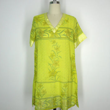 Kaftan Dress / Tunic Caftan / Swim Coverup / Vintage Indian Cotton Sari / Yellow Floral Lily Print / Limited Edition / Size S Small
