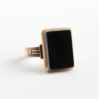 Antique Victorian 8k Rose Gold Banded Agate Ring - Late 1800s Size 10 Black Onyx Men's Or Women's Fine Jewelry