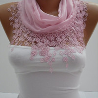 Powder Pink Cotton Shawl Scarf  Headband  Cowl with Lace by DIDUCI