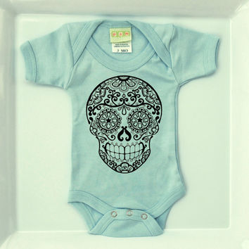 Boys Sugar Skull Tattoo Romper. Light Blue 3 or 6 months. Rockabilly Boy Infant Trendy One-piece Baby Clothes. Blush Bodysuit Creeper