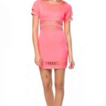 Pink Cut Out Mini Dress