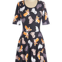 ModCloth Critters Short Sleeves A-line All Play, No Work Dress