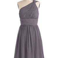 ModCloth Long One Shoulder A-line Moonlight Marvel Dress in Mist