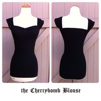 Black CHERRYBOMB Blouse,  Retro Rockabilly Capped Sleeve Top, Sexy Off The Shoulder PIN UP Swing Mod Top, Sizes xs, s, m, l, xl, xxl