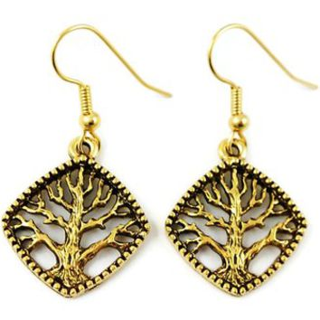 Surgical Steel Dangle Earrings Tree of Life Diamond Shape Gold
