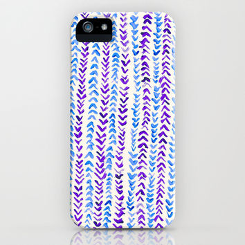 Hand Painted Herringbone Pattern in Purple & Blue iPhone & iPod Case by Tangerine-Tane