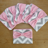 Bridesmaid Gift Set / Bachelorette Party Favors - Gray Chevron Medium Pink Bow - Wedding Cosmetic Cases - Custom Quantity and Bow Style