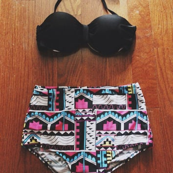 Vintage Inspired Aztec High Waisted Push Up Bikini