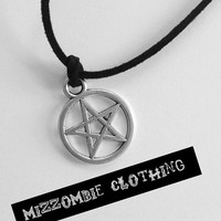 Supernatural Inspired pentacle star necklace cosplay jewelry wiccan pagan protection on suede