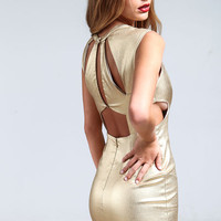 CUT OUT GOLD DRESS