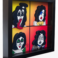 KISS Art Rock N' Roll Music 3D Pop Artwork Print by PopsicArt