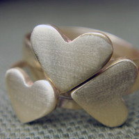 Stacked Triple Heart Rings by anilani by Anilani on Etsy