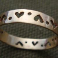 Row of Hearts Dots Ring in Brass by Anilani by Anilani on Etsy