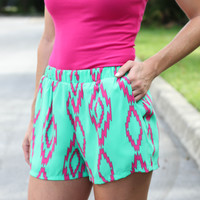 Touch Of Aztec Shorts - Green