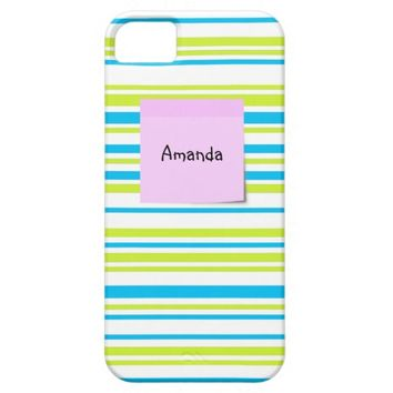 Lines lime blue white monogram iPhone 5/5S case