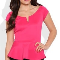 Peplum Top with Cap Sleeves and Notched Neckline