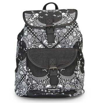 """Denim Skull Bandana"" Backpack by Loungefly (Black/White)"