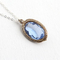 Antique Art Deco Simulated Sapphire Rhinestone Pendant Necklace - 1920s Blue Faceted Glass Stone Sterling Silver Chain Jewelry