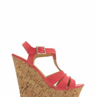 It Takes Three Straps Faux Cork Wedge