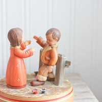 Anri Music Box, Carved Wood, Anri Wood Box, Thorens, Anniversary Waltz, Vintage Music Box, Switzerland, Wood Carving, Boy and Girl, Romantic