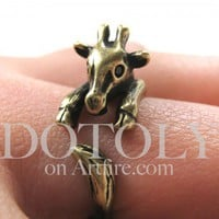 Miniature Baby Giraffe Ring in Bronze Sizes 4 to 9 available | dotoly - Jewelry on ArtFire