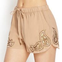 LOVE 21 Sequined Paisley Dolphin Shorts Cocoa