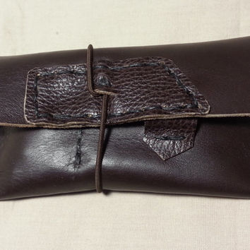 brown leather tobacco pouch handmade bag with elastic / Smoker gift