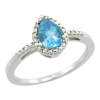 Blue Topaz & Diamond Tear Drop Ring, Sterling Silver