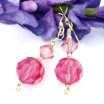Rose Pink Swarovski Crystal Handmade Earrings Sterling Sparkly Jewelry