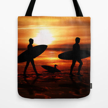 Sunset Surfers Tote Bag by Gravityx9