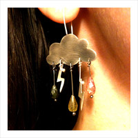 Cumulonimbus Sterling Silver Angry Cloud Earrings Tourmaline Rain Drops Lighting Bolts Delicate Femi | Luulla