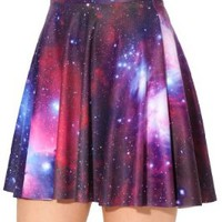 Women's Flared Stretch Soft Galaxy Print Pleated Mini Dress Skater Skirt