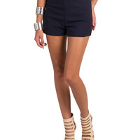 Lush Clothing - High Waist Textured Shorts - Navy