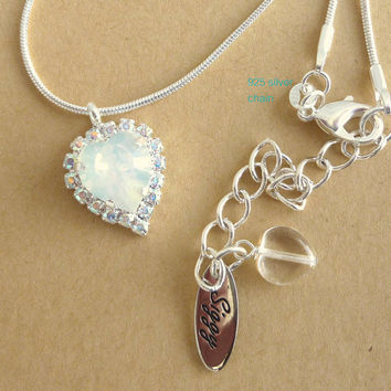 Swarovski crystal heart pendant necklace, white opal and crystal AB bridal necklace, on 925 silver chain, siggy design, Great Price
