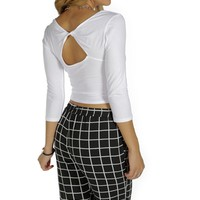 White Twist Back Crop