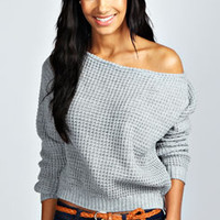 Ria Crop Slash Neck Waffle Knit Jumper