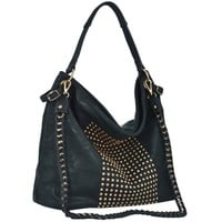 MG Collection Hana Chic Studded Slouchy Hobo Office Tote, Black, One Size