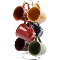 Walmart: Gibson Everyday Contempo Hues 15-Ounce Mug Set with Rack, Set of 6