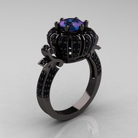 Classic Yeva 14K Black Gold 2.0 Ct Chrysoberyl Alexandrite Black Diamond Crown Bridal Solitaire Ring Y303C-14KBGBD2AL
