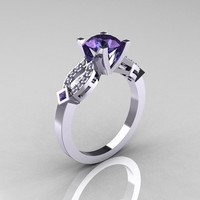 Classic 14K White Gold 2.0 Ct Alexandrite Diamond Solitaire Ring R188-14KWGD2AL