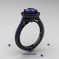 Caravaggio 14K Black Gold 2.0 Ct Color Change Alexandrite Engagement Ring, Wedding Ring R621-14KBG2AL